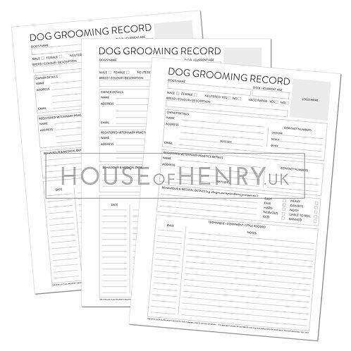 dog grooming record sheet (branded, with hole punch margin)
