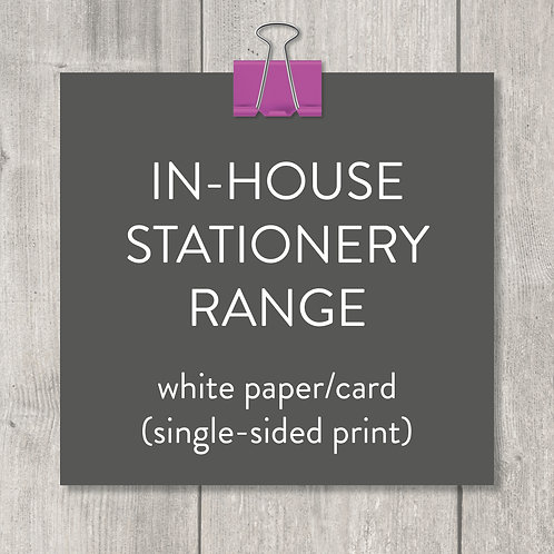 in-house stationery range – white card (design and print)