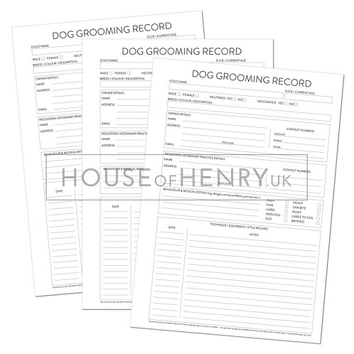 dog grooming record sheet (with hole punch margin)