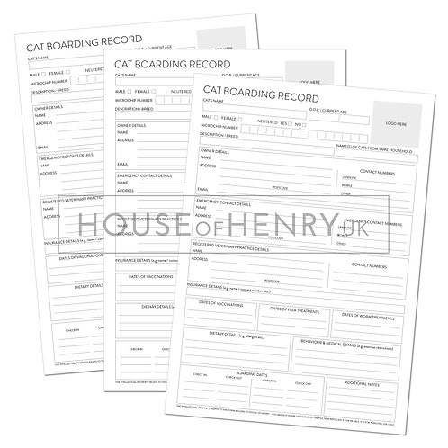 cat boarding record sheet (branded, without hole punch margin)