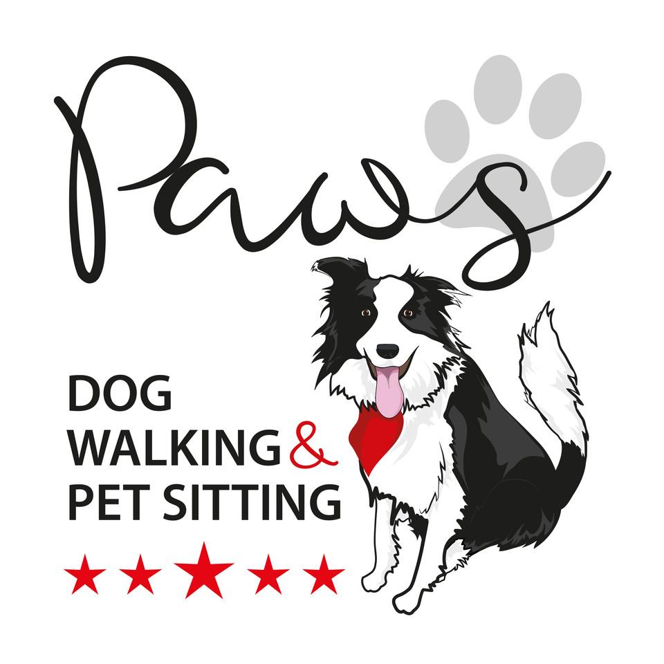 Paws Dog Walking & Pet Sitting Logo Graphic Design