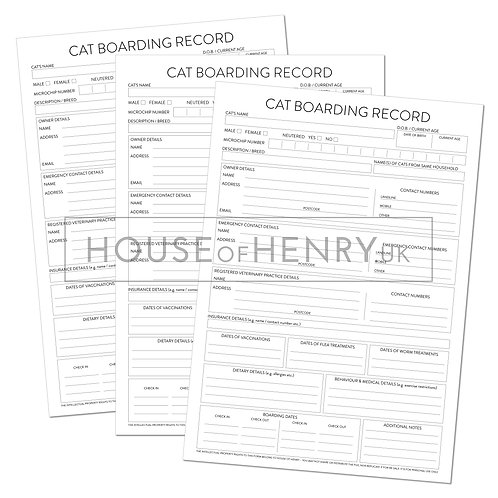 cat boarding record sheet (without hole punch margin)