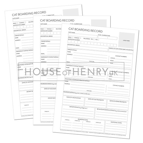 cat boarding record sheet (branded, with hole punch margin)