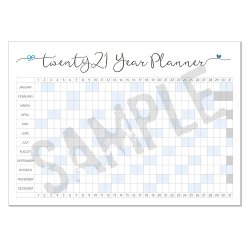 2021 calendar – blue