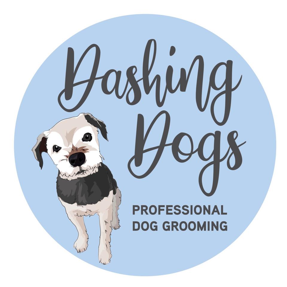 Dashing Dogs Professional Dog Grooming Logo Graphic Design
