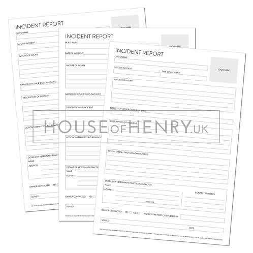 incident report form (branded, without hole punch margin)
