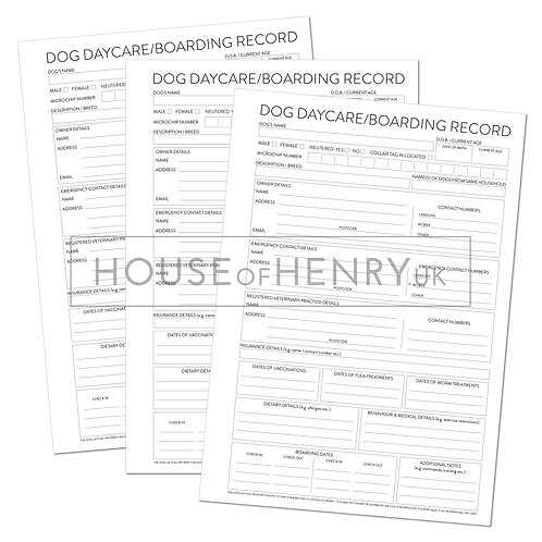 dog daycare/boarding record sheet (with hole punch margin)