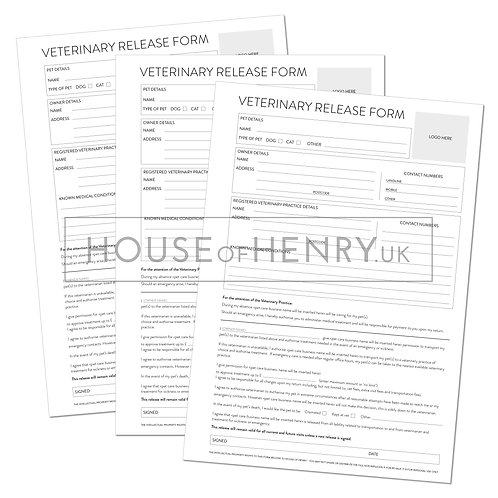 veterinary release form (branded, with hole punch margin)
