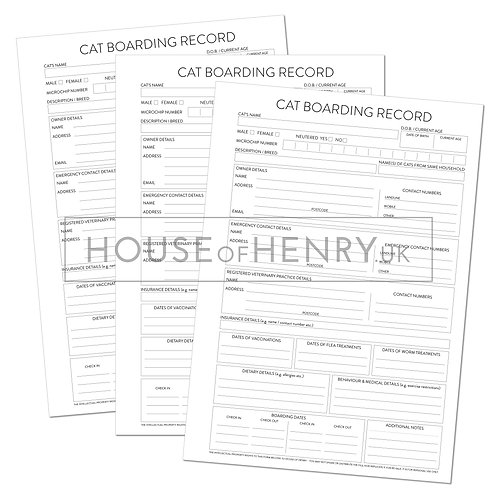 cat boarding record sheet (with hole punch margin)