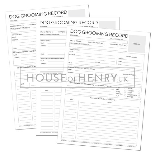 dog grooming record sheet (branded, without hole punch margin)