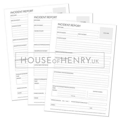 incident report form (branded, with hole punch margin)