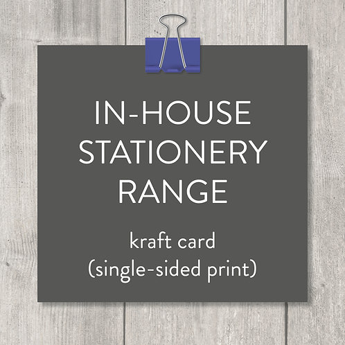 in-house stationery range – Kraft card (design and print)