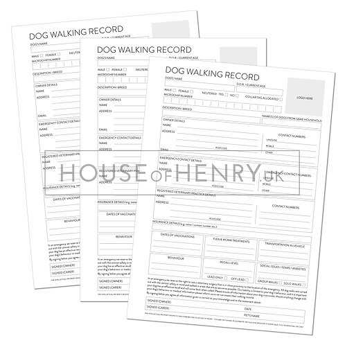 dog walking record sheet (branded, with hole punch margin)