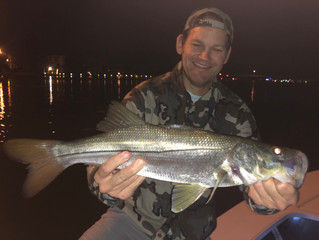 Post Thanks Giving bellies, cool weather, hot fishing and fat Snook in Jupiter, Florida.
