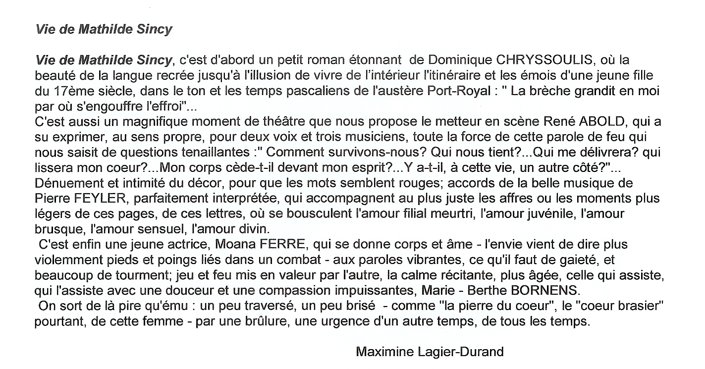 "Article ""Vie de Mathilde Sincy"""
