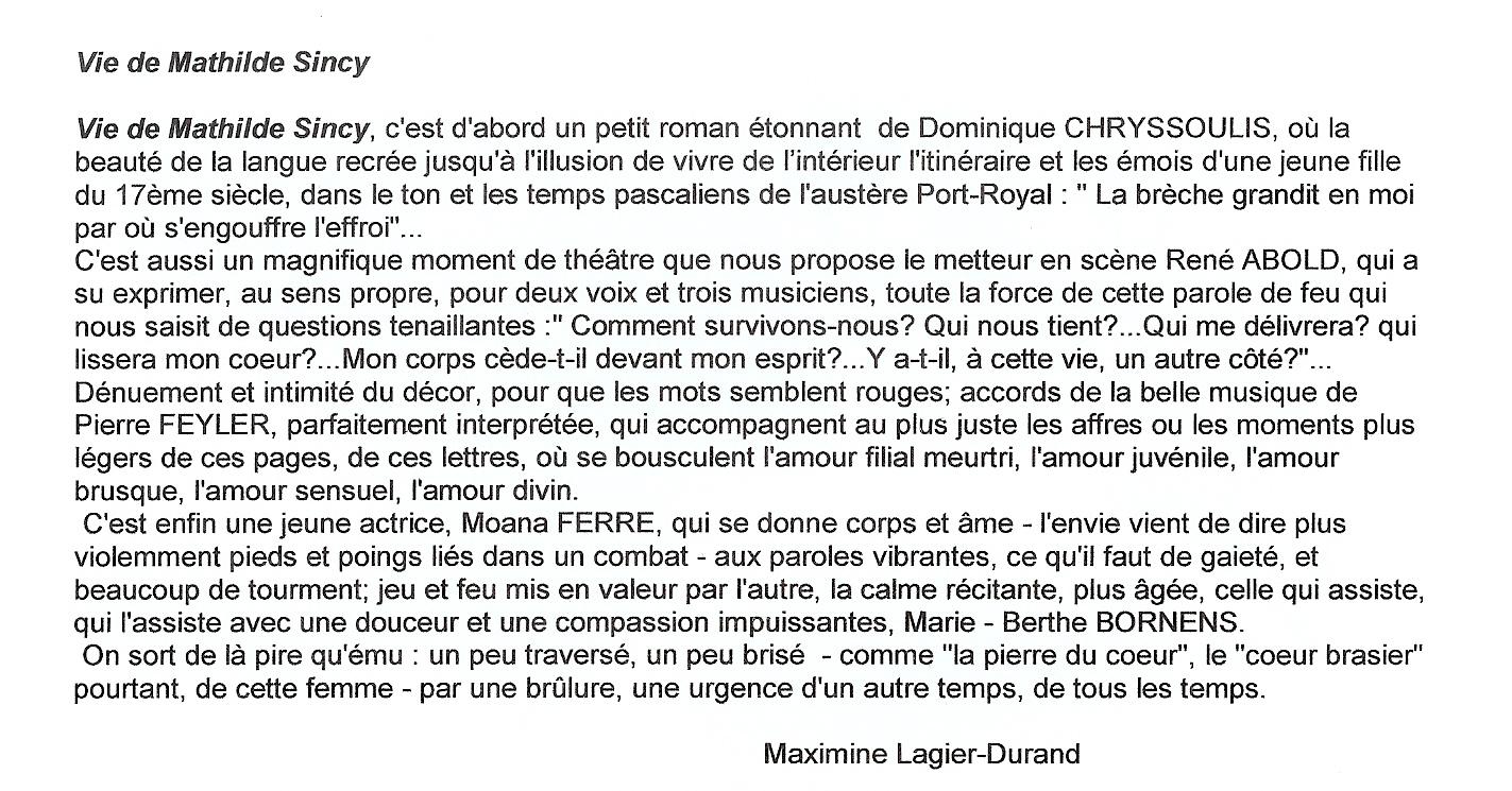 "Article ""Vie de Mathilde Sincy"""