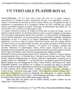 """Article """"La Nuit des Rois"""""""