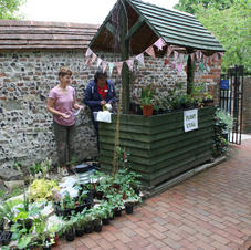 Sue and Emma setting up the plant stall
