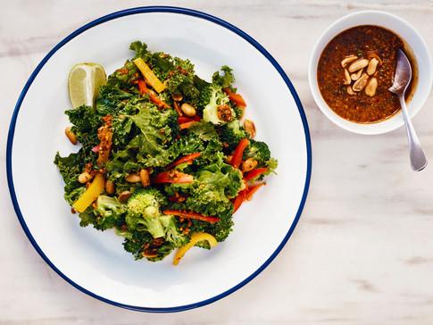 Kale & Broccoli Salad with Thai Peanut Dressing
