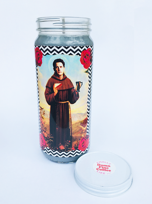 dale cooper twin peaks inspired prayer candle handmade soy candle