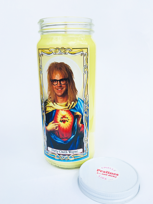 WAYNE'S WORLD WAYNES WORLD GARTH ALGAR PRALINES AND DICK SCENTED SOY CANDLE HANDMADE