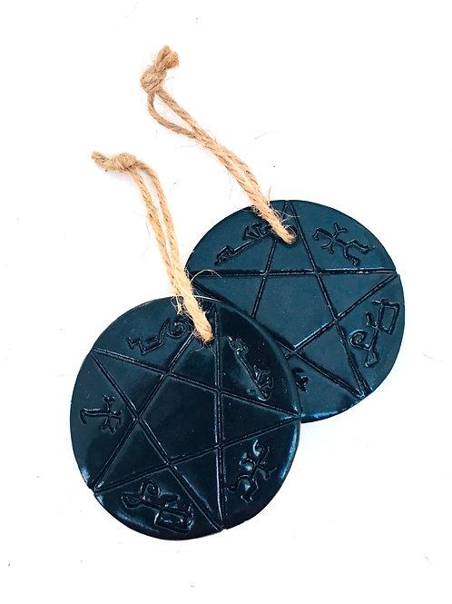 supernatural devil trap hand made ceramic ornament