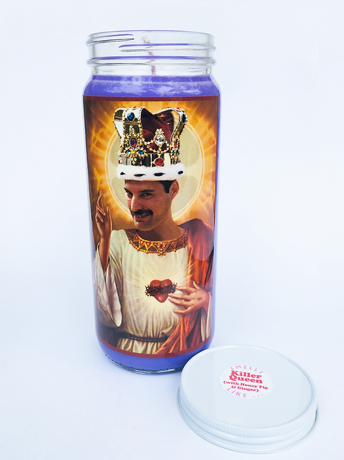 FREDDIE MERCURY QUEEN INSPIRED PRAYER CANDLE HAND POURED SOY CANDLE