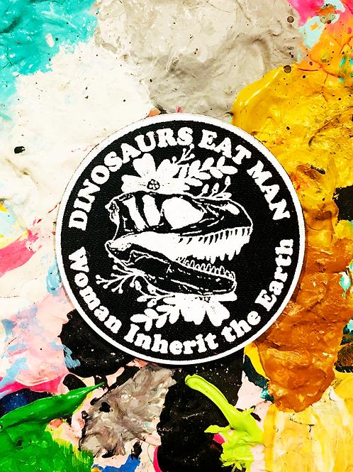 silkscreen iron on patch JURASSIC PARK dinosaurs eat man women inherit the earth