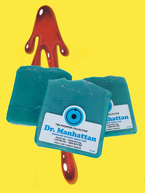 the watchmen handmade vegan cold process soap based off graphic novel Dr. Manhattan