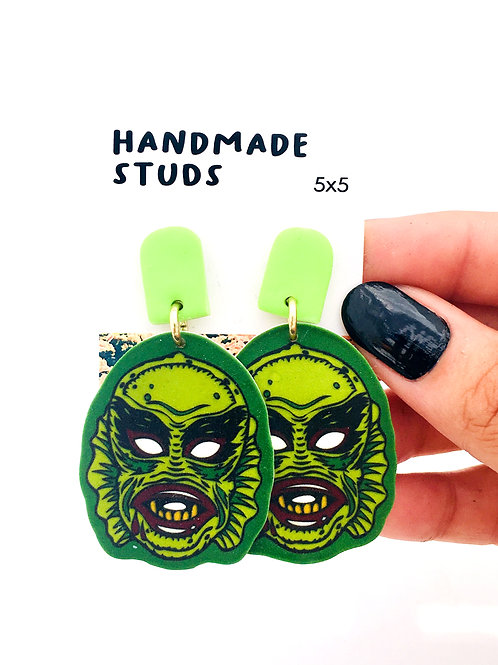 creature from the black lagoon swamp thing hand made earrings