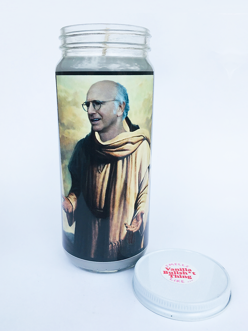 larry david curb your enthusiasm prayer candle hand poured soy candle vanilla bullshit thing