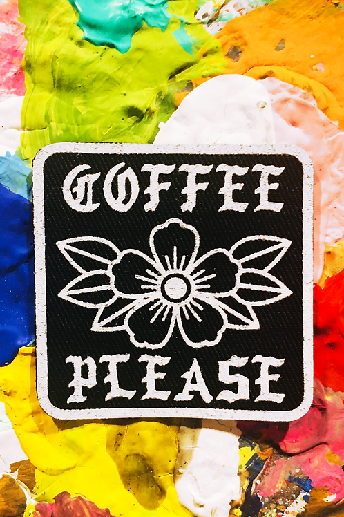 COFFEE PLEASE iron on patch
