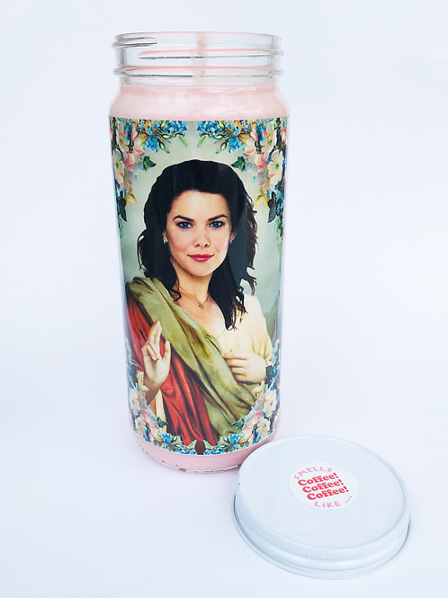 GILMORE GIRLS LORELAI GILMORE PRAYER CANDLE IN LIGHT PINK SCENTED LIKE COFFEE COFFEE COFFEE HAND POURED SOY CANDLE
