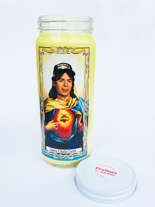 WAYNES WORLD WAYNE'S WORLD WAYNE CAMPBELL PRAYER CANDLE SCENTED WITH PRALINES AND DICK HAND POURED SOY CANDLE