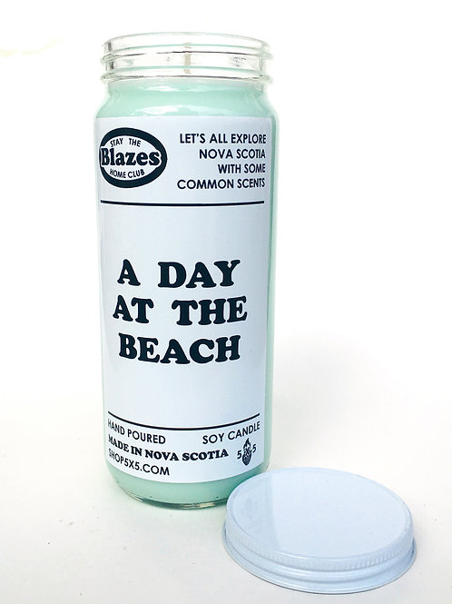 A DAY AT THE BEACH- stay the blazes home candle