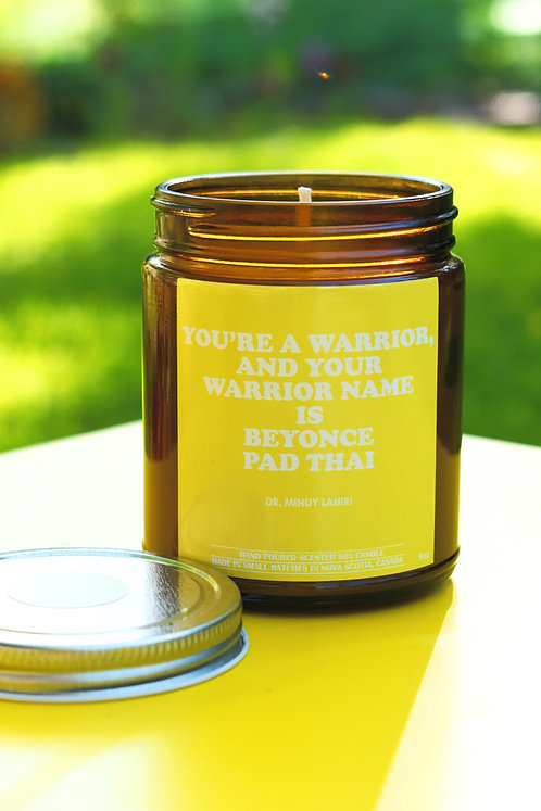 warrior • DR MINDY LAHIRI • quote candle