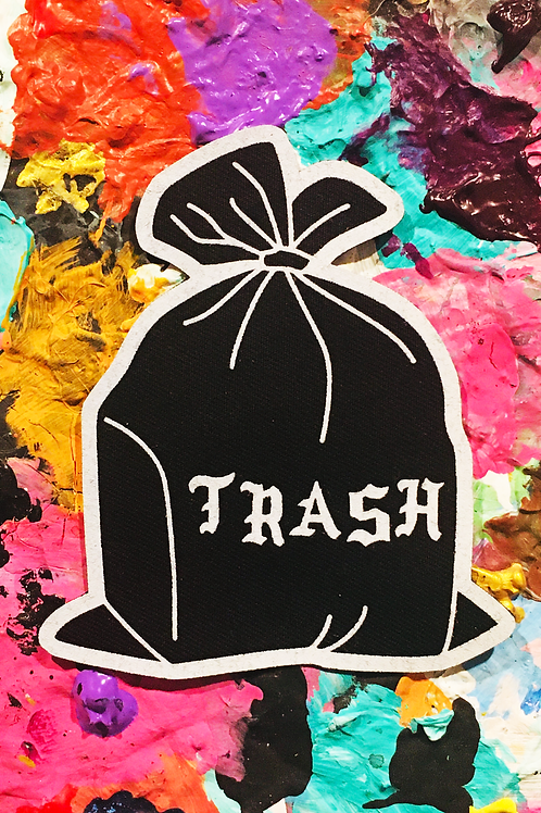 trash iron on patch