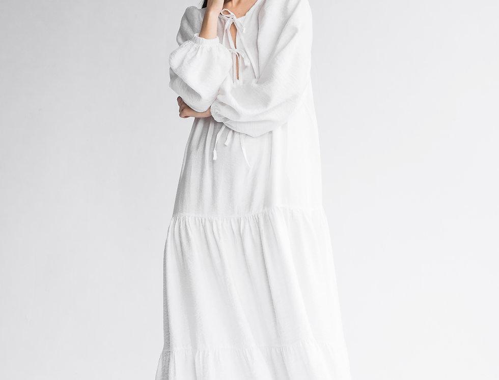 Платье с завязками длинное белое