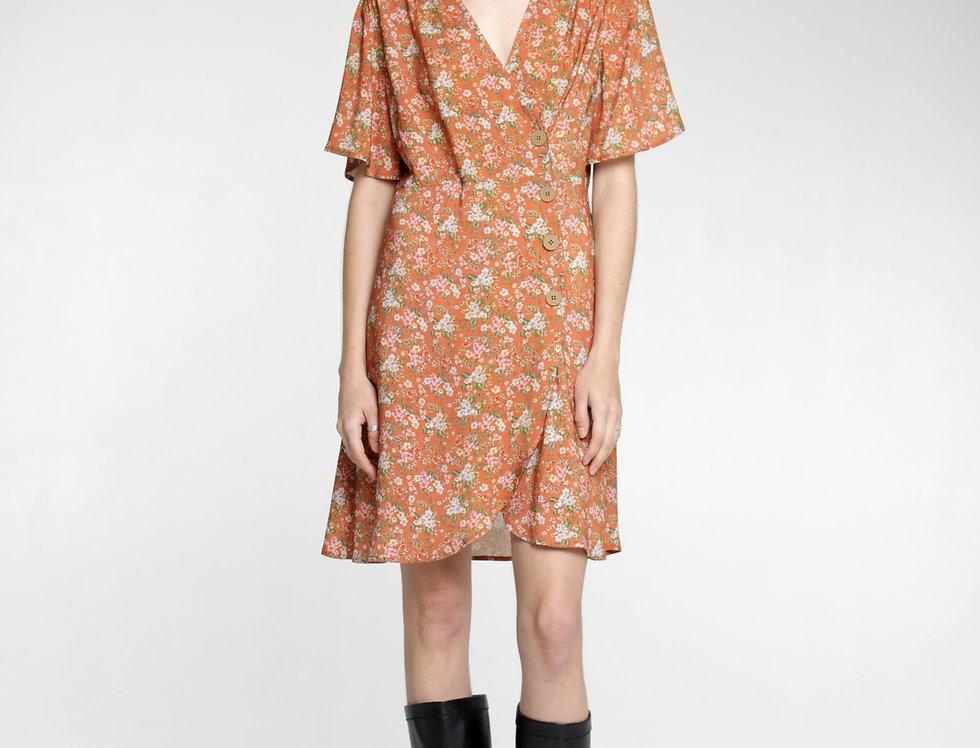 Платье мини бежевое в цветы