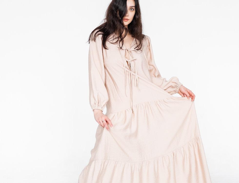 Платье с завязками длинное бежевое