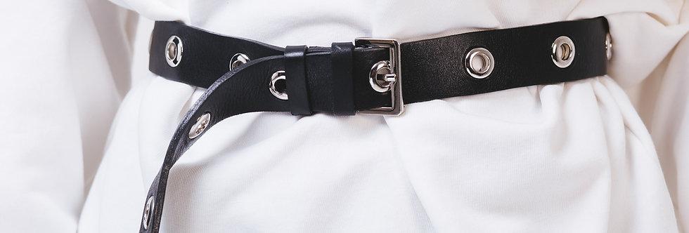 Ремень кожаный с люверсами