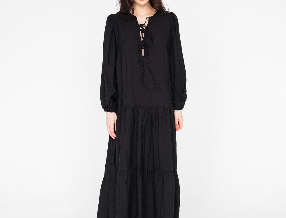 Платье с завязками длинное чёрное