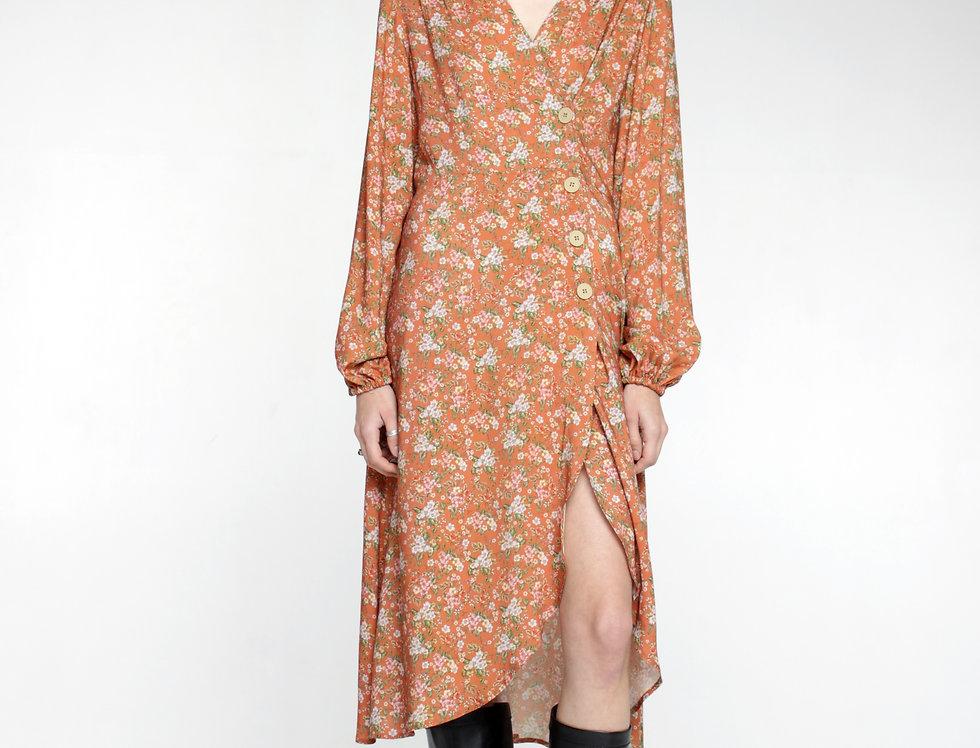 Платье миди бежевое в цветы