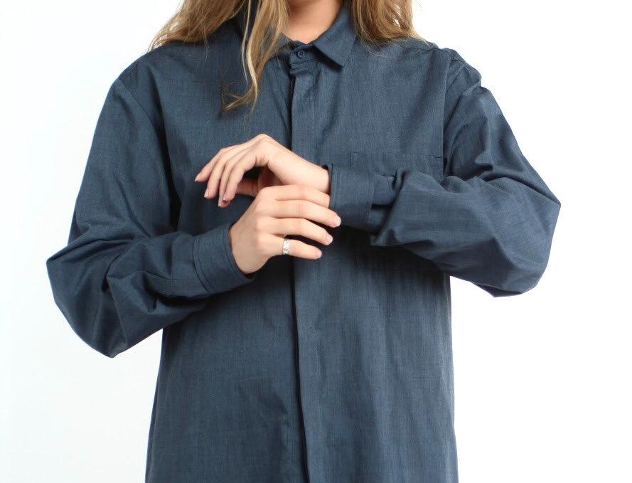 Рубашка boyfriend из тёмно-синего хлопка