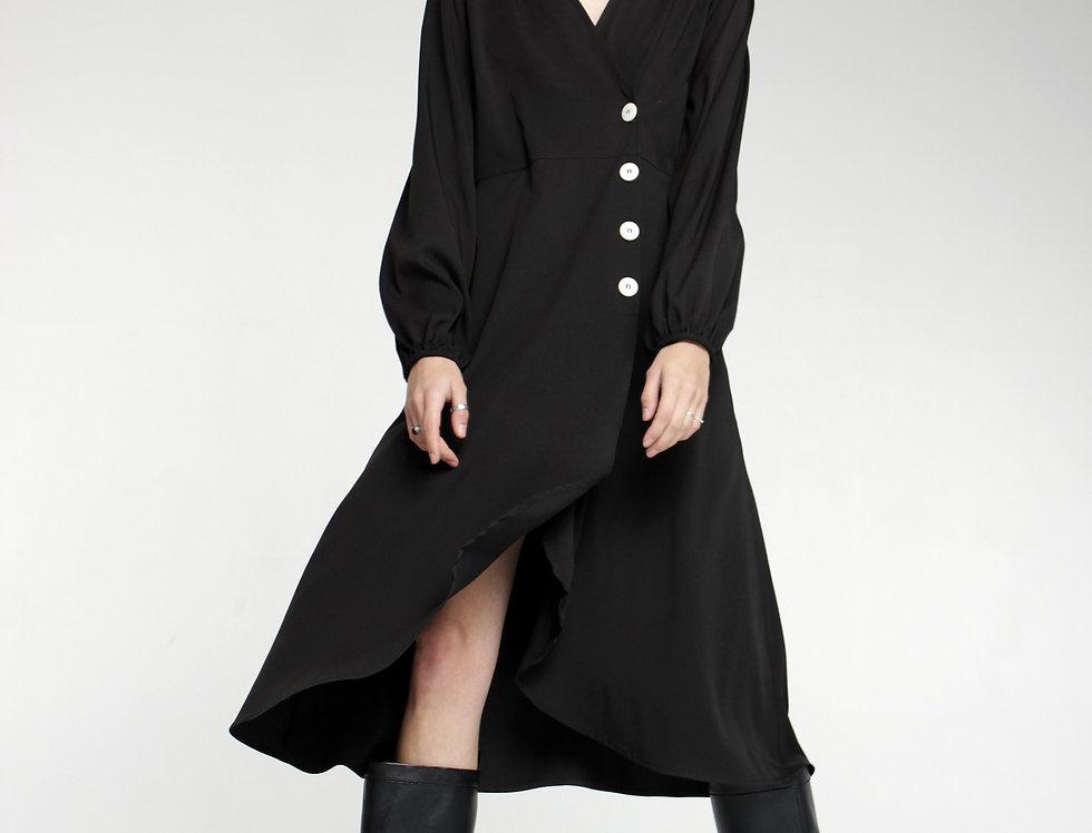 Платье миди черное