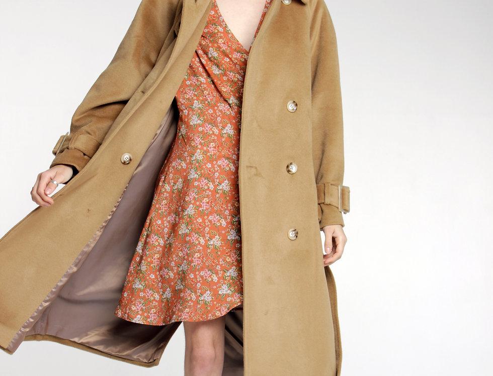Пальто-тренч из шерсти в цвете кэмел