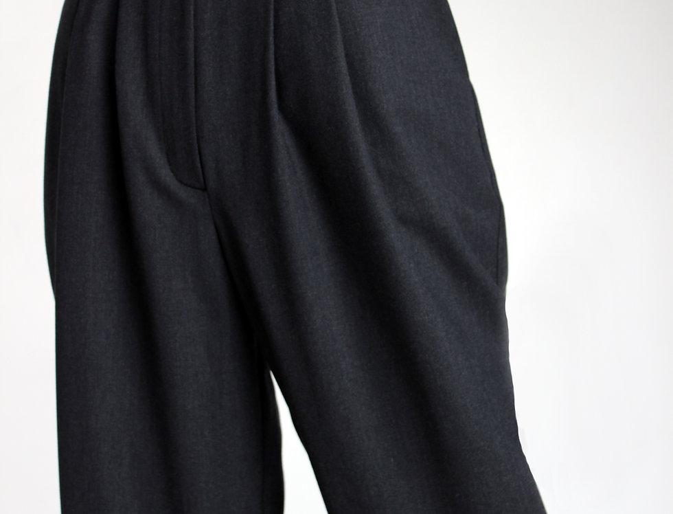 Костюмные брюки из шерсти с завышенной талией серые