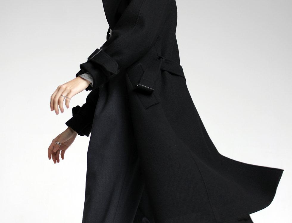 Пальто-тренч из шерсти черный
