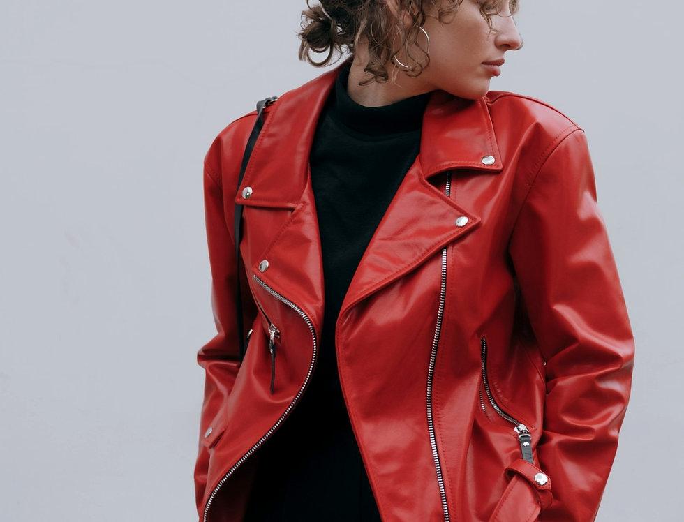 Куртка-косуха женская кожаная oversize красная
