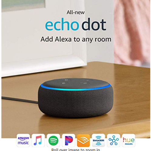 All New Echo Dot (3nd Gen) - Smart speaker with Alexa - Charcoal/Black
